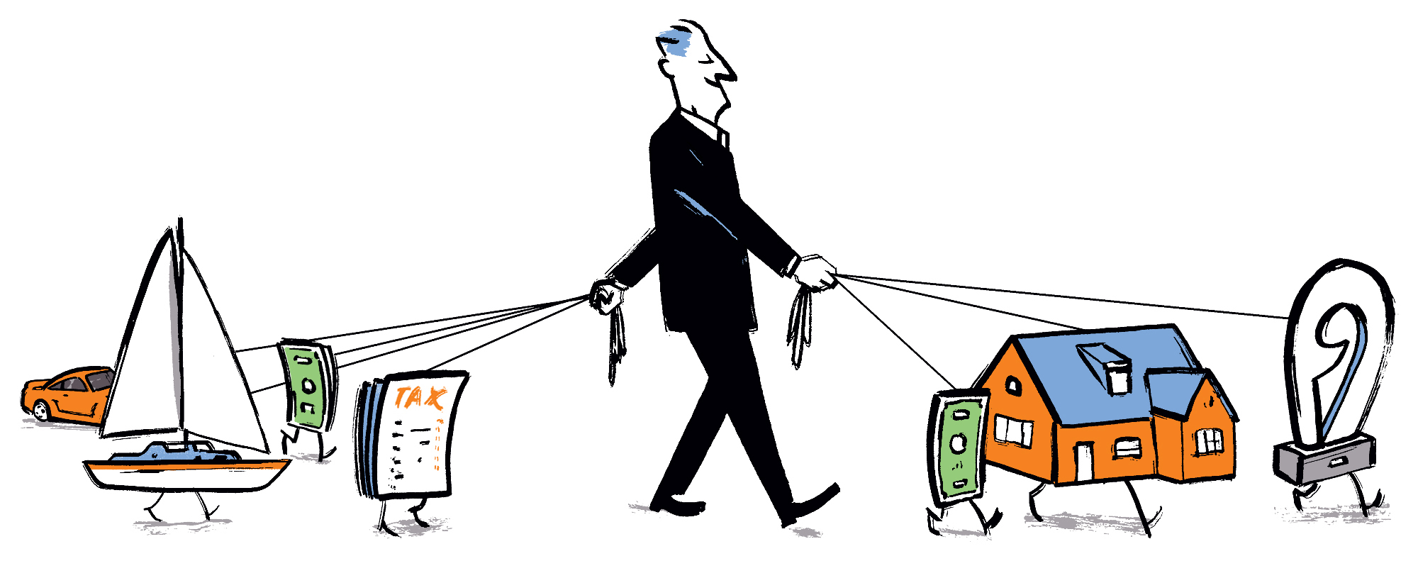 Cartoon showing how Aspiriant implements wealth management services uniquely for every client