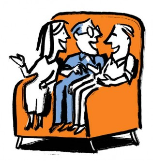 Illustration of three people on couch starting a dialogue about their financial future